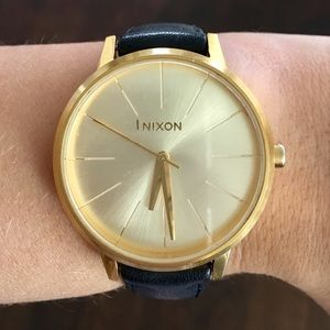 Nixon Gold Watch With Black Leather Strap